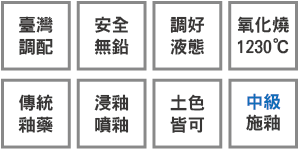 釉藥堂陶藝釉藥特色標示小圖-土色皆可-中級