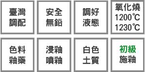 釉藥堂陶藝釉藥特色標示小圖-白色土質-初級-色料